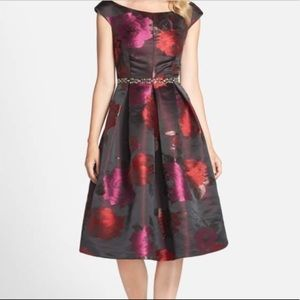 Eliza J Floral Jacquard Fit & Flare Formal Dress